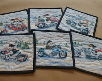 Motorcycle Snowmen Mug Rug Set of 6, Snack Mat, Fabric Coaster, Pot Holder, Trivet, Secret Santa, Gift Set, Biker Gifts, Motorcycle Gifts