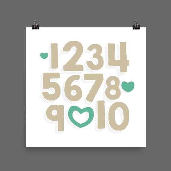 I LOVE YOU (Venetian & Mermaid) Numbers Poster Print - Nursery, Kids Room, Wall Art Modern