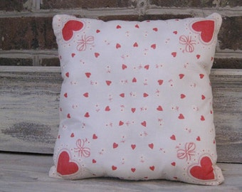 Vintage Valentine Hankie Pillow with Quilt Backing