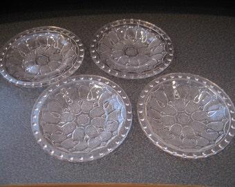 Vintage Glass Salt & Pepper Individual Cellars, Set of Four