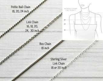 Stainless Steel or Sterling Necklace Chain - your choice of styles