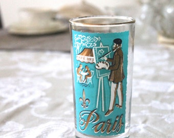 Vintage Glass, Paris souvenir glass,French Inspired