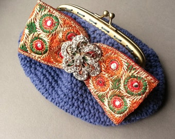 Boho Crochet Clutch, Rhinestone Accent, Indian Fabric Ribbon Embellishment, Periwinkle Blue, Kisslock Purse, Small Handbag, Upcycle Fashion