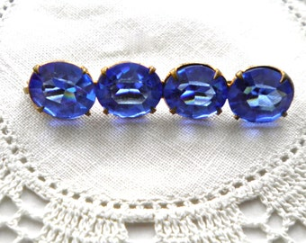 Antique  CZECH GLASS  Bar Pin  Brilliant Blue Faceted Stones circa 1900
