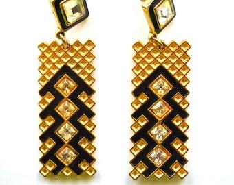 Vintage Black Enamel & Golden Long Dangle Drop  Pierced Earrings
