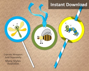 Bug Party Cupcake Toppers, Favor Tags, Straw Flags, Instant Download, Insects Party Decorations
