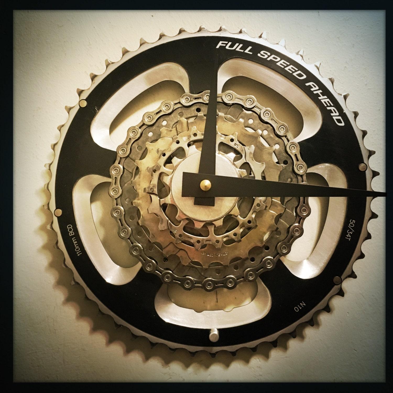 Bike Gear Wall Clock Cycling Gift For Men Steampunk Decor