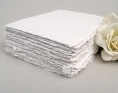 White handmade paper, recycled, deckle edge, 10 small cards, 2.5 x 3.5 inch