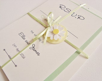 Personalised Handmade Daisy/Gerbera Flower Ribbon Tied Wedding Invitation and RSVP Sample