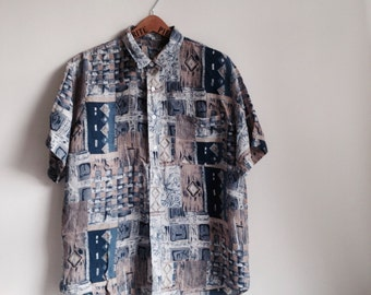 beautiful washed silk vintage printed oversized shirt by SNOW