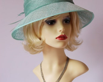 Vintage formal hat, Ascot hat, races hat, wedding hat, bridal, mother of the bride hat, mint colour