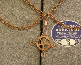 Copper Gear Pendant Necklace