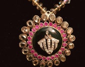 Allah pendant with pink crystals and kundan border, gifts for her, gemstones