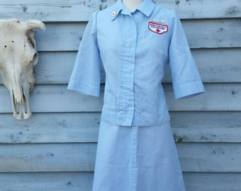 Vintage Red Cross Volunteer Nurse Uniform with Hats and Pins 50s 60s Small