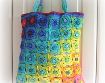 Hand crocheted tote bag. Own design. Unique. Fully lined. Fabulous colours and very posh.Decorated with buttons. OOAK.