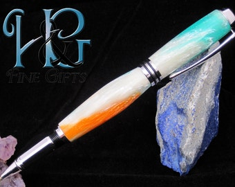 Swirling blue, white, orange handcrafted pen in rhodium setting, acrylic in swirling colors pen, beautiful gift office pen, handwriting