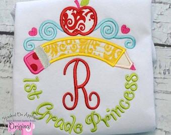 First Grade Princess Tiara Monogram with Phrase - Custom Tee