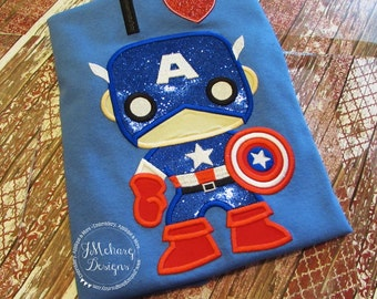 Super Hero Custom embroidered Captain America Inspired Vacation Shirt 819