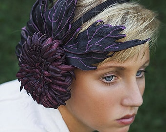 Leather black  purple    flower chrisanthemum     fascinator headpiece crown.