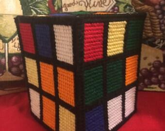 Rubics cube in plastic canvas tissue box cover