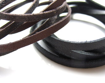 Leather strip, Black leather, Brown leather, Genuine leather strip, Leather cords, Jewelry making, 3mm, 1yd strip