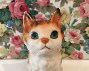 Vintage Ginger Cat Kitsch China Ornament 1950s Kawaii