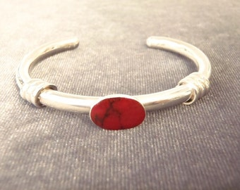 Sterling Silver Jasper Cuff Bracelet B79