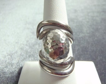Sterling Silver Hammered Dome Ring Sz 8 1/4 R203