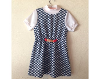 1960s Navy Blue and White Plaid Dress, Little Girls Dress, Size 6, Vintage Kids,