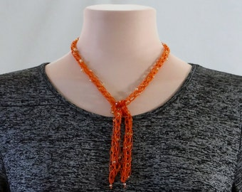 Clearance! Lariat Necklace One Of A Kind Orange Lariat Necklace Rust Beaded Lariat Necklace Orange Y Necklace For Her Orange Lariat Necklace