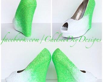 Green & White Glitter Wedges - Sparkly Ombre Peep Toe Platform Heel - Glitzy Open Toe Wedding Heels - Prom Wedges