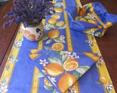 Table Runner Cotton Coated or oilcloth . Fabric from Provence, France.Lemons in blue. Made to order.Matching napkins and bread baskets.