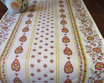 Table runner . French Oilcloth .Fabric from Provence.Stain resistant and water proof.Little paisley in white . matching napkins available.