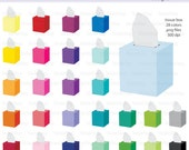 Tissue Box Icon Digital Clipart in Rainbow Colors - Instant download PNG files
