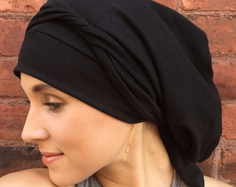 Black COTTON/Spandex 10 Way Tie Turban Hair Wrap