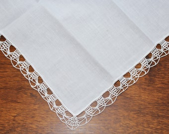 White Cotton & Crochet Edged Vintage Handkerchief - Wedding