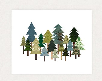 Rustic Tree Collage - Woodland Nature Collage - Art Collage Giclee Poster Print