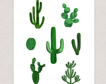 Cactus Art Print - Collage Art Print - Wall Art Home Decor