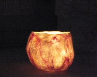 """Wet felted Natural dyed organic Luminary candle holder """"Fire"""" in white, yellow, red, orange."""