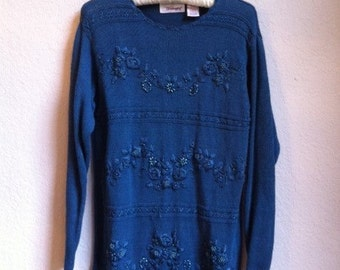 Teal Blue Sweater With Beading