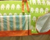 MADE TO ORDER Orange Aqua Green Custom Baby Bedding Modern Nursery