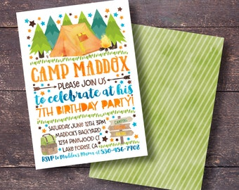 Camping Party Invitation, Campout Party Invitation, Printable Camping Invitation, Boys Camping Invitation, Boys Sleepover Invitation