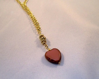 Pink Marbled Czech Glass Heart Necklace - Vintage Brass Filigree Bead