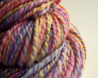 Chunky yellow, pink and purple wool, blue faced leicester yarn, knitting yarn / wool, thick bulky yarn