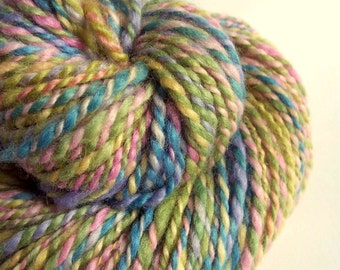 Chunky wool in pink, green, blue and yellow, blue faced leicester yarn, knitting yarn / wool, thick bulky yarn