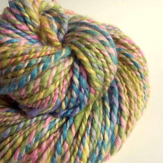 Knitting Handspun Yarn : Handspun knitting yarn chunky wool in pink green blue and