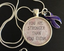 Purple / Violet Ribbon Necklace - You are Stronger Than You Think - Pancreatic Cancer, Hodgkin's Hodgkins Lymphoma