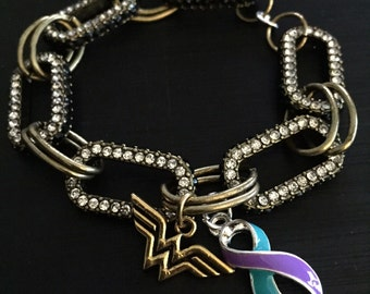 Teal and Purple Ribbon Bracelet - She Believed She Could - Domestic Violence Awareness / PKD / Polycystic Kidney Disease / PCOS Syndrome