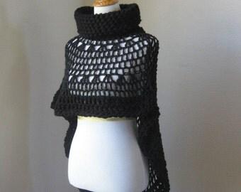 Black Bohemian Poncho Crochet Knit  Fall Winter Fashion Turtleneck Feminine Capelet Boho Chic