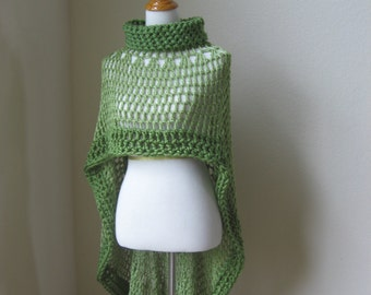 Green Bohemian Poncho Crochet Knit Green Shawl Turtleneck Boho Chic Hippie Feminine Capelet Chic Romantic Fall Fashion Ruffled Original